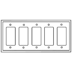 Eaton Wiring Devices 2165W-BOX WALLPLATE 5G DECORATOR THERMOSET STD WH