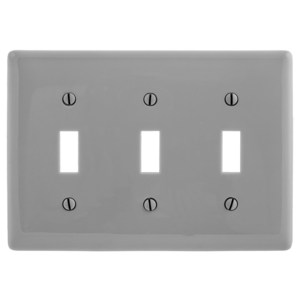 Hubbell-Wiring Kellems NP3GY WALLPLATE, 3-G, 3) TOGG, GY