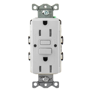 Hubbell-Wiring Kellems GFTRST15W Tamper Resistant GFCI Receptacle, Self-Test, 15A, White