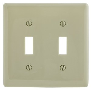 Hubbell-Bryant NP2I Toggle Switch Wallplate, 2-Gang, Nylon, White
