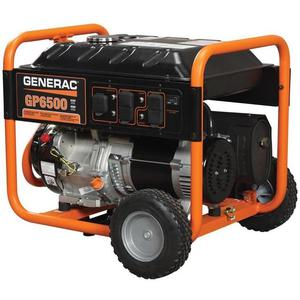 Generac 5940 Generator, 6.5kW, Portable, Manuel Recoil Start, Gasoline, Limited Quantities Available