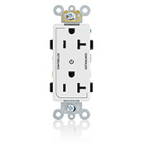 Leviton 16352-2PW 20A Decora Duplex Receptacle, 125V, 5-20R, White, Back and Side Wired, 2P Controlled
