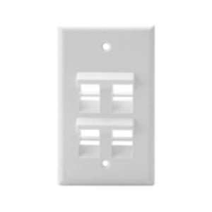 Leviton 41081-4WP Wallplate 4 Port Sg Ang White