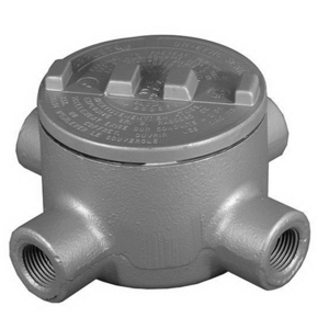 "Appleton GRX150-A Conduit Outlet Box, Type: GRX, (4) 1-1/2"" Hubs, Aluminum"