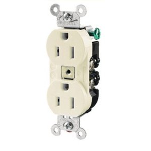 Hubbell-Kellems CR20WHI Duplex Receptacle, 20A, 125V, White, 5-20R