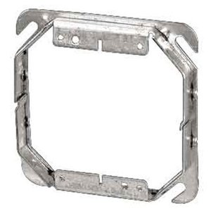 "Steel City 52-C-53-1-1/2 4"" Square Cover, 2-Device, Mud Ring, 1-1/2"" Raised, Drawn, Metallic"