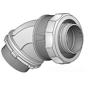 "EGS 4QS-450 Liquidtight Connector, 45°, 1/2"", Non-Insulated, Steel"