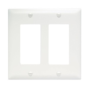 ON-Q TP262-W Decora Wallplate, 2-Gang, Nylon, White
