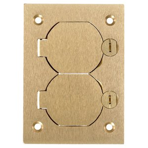Hubbell-Kellems S3825 Floor Box Cover, Metallic, 1-Gang, Duplex Receptacle, Brass