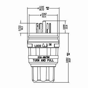 Leviton 26W10 Locking Plug, 20A-250V, 10A-600V, Non-Nema, 4P5W, Yellow