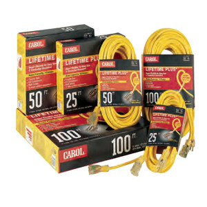 General Cable 03391.63.05 Lighted Extension Cord, SJTW, 14/3 AWG, Yellow, 50', Outdoor