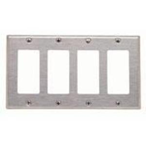 Leviton 84412-40 Decora Wallplate, 4-Gang, Type 302 Stainless Steel