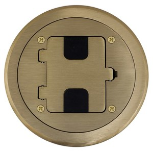 Hubbell-Kellems RF406BR Floor Box Assembly, Includes Duplex Receptacle, Brass Floor Plate