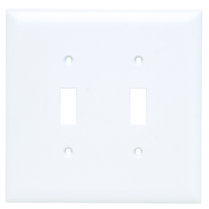 Pass & Seymour TPJ2-W Toggle Switch Wall Plate, 2-Gang, Nylon, White, Jumbo