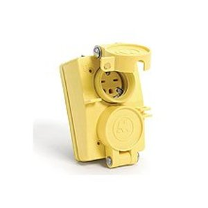 Woodhead 60W33DPLX Watertight Duplex Receptacle, Flip Coverplate, 20A, 125V, Yellow
