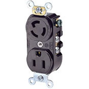 Leviton 4792 Combo Receptacle, Locking/Straight Blade, 15A, 125V, 2P3W, Black