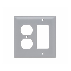 Pass & Seymour TP826-GRY Wallplate, 2-Gang, Duplex/Decora, Nylon, Gray