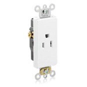 Leviton 16251-W 15 Amp Single Receptacle, Decora, White, 125V, Commercial Grade, 5-15R