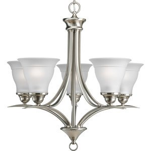 Progress Lighting P4328-09 Chandelier, 5-Light, 100W, Brushed Nickel