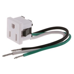 Hubbell-Wiring Kellems RR374W RECEPT SINGLE 5-15 SNAP IN WHITE