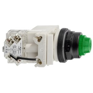Square D 9001SKT38LGG31 Pilot Light, Push to Test, Green, Plastic Fresnel, LED, 120VAC/DC
