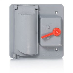 Leviton WP2SG-GY Weatherproof Cover, 2-Gang, GFCI Receptacle/Switch