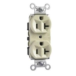 Pass & Seymour 5362-I Duplex Receptacle, 20A, 125V, Ivory, 5-20R