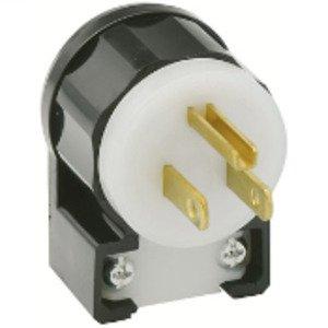 Leviton 5266-CA 15 Amp Angled Plug, 125V, 5-15P, Nylon, Black/White, Industrial Grade