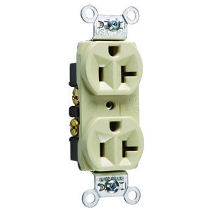Pass & Seymour CRB5362-I Duplex Receptacle, 20 Amp, 125 Volt, Ivory