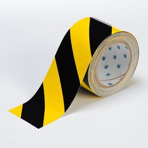 "Brady 104347 Floor Marking Tape, 3""x100', Black/Yellow Striped"
