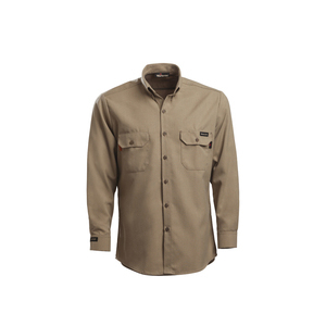 Workrite Uniform 288UT70KH/GE/R/L/VELSLVGAP Utility Shirt, Long Sleeves, 7oz, Ultrasoft, Khaki, L, Regular