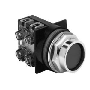 ABB CR104PBG92B3 Push Button, Recessed Black Head, 2NO/NC Contact, 600V, Momentary