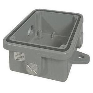 "Federal Signal WB Weatherproof Outlet Box, 2-Gang, Depth: 2"", Die Cast"