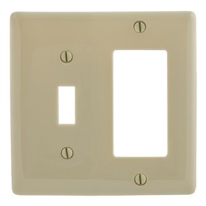 Hubbell-Bryant NP126I Combination Wallplate, 2-Gang, Toggle/Decora, Nylon, Ivory