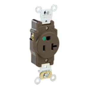 Leviton 8310 Hospital Grade Single Receptacle, 20A, 125V, Brown