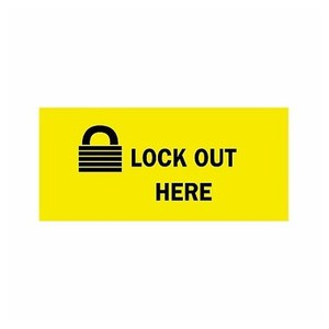 Brady 88304 Label,B302,4.5x2.25,Bk/Yw,LOCK OUT H,1EA
