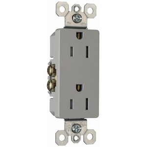 Pass & Seymour 885-TRGRY Tamper Resistant Decora Receptacle, 15A, 125V, Gray