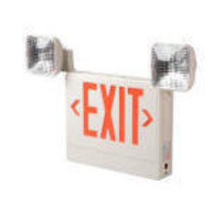 Lightalarms UQLXN500R-2SQR Emergency Combo Exit/Light, Remote Capacity, LED, White, Red Letters