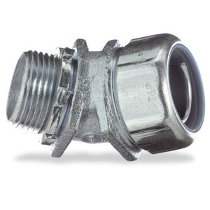 "Thomas & Betts 5242 Liquidtight Connector, 45°, 1/2"", Non-Insulated, Malleable Iron"