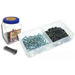 "Metallics WAKJ23F Plastic Anchor Kit, Gray Anchors, # 10 x 1"" Screws, Flat Head/Phillips"