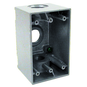 "Hubbell-Raco 5386-0 Weatherproof Outlet Box, 1-Gang, 2-5/8"" Deep, (3) 3/4"" Hubs"