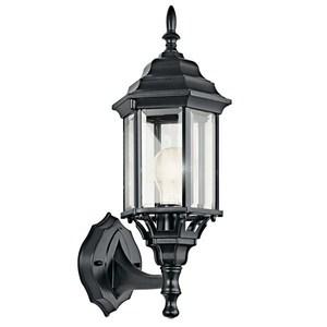 Kichler 49255BK 1 Light Outdoor Wall Lantern, Black Finish, 100W, 120V