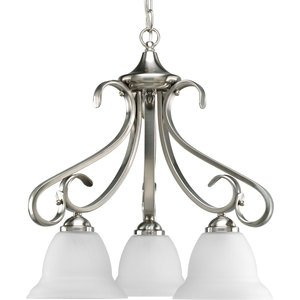 Progress Lighting P4405-09 Chandelier, 3-Light, 100W, Brushed Nickel