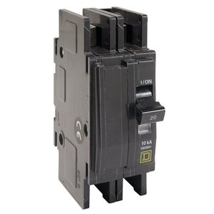 Square D QOUR210 Breaker, Lug In/Ring Terminal Out, 2P, 10A, 120/240VAC, QO, 10kAIC