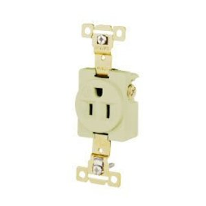 Hubbell-Bryant 5261I Single Receptacle, Industrial Grade, 15A, 125V, 2P3W, Ivory