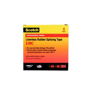 """3M 130C-1X15FT Linerless Rubber Splicing Tape, 1"""" x 15'"""