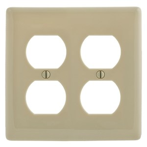 Hubbell-Bryant NP82I Duplex Receptacle Wallplate, 2-Gang, Nylon, Ivory