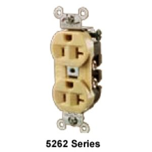 Hubbell-Wiring Kellems 5362B Duplex Receptacle, 20A, 125V, Brown, Commercial/Industrial
