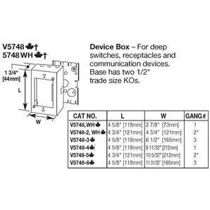 Wiremold V5748-6 Stl Device Box 6g Ivory