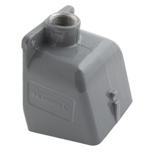 "Hubbell-Kellems BB301W Angled Back Box for 20/30A Pin & Sleeve Receptacle, 1"" Hub, Aluminum"
